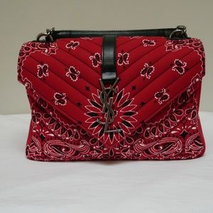 NWT Saint Laurent College Bandana Bag - Red